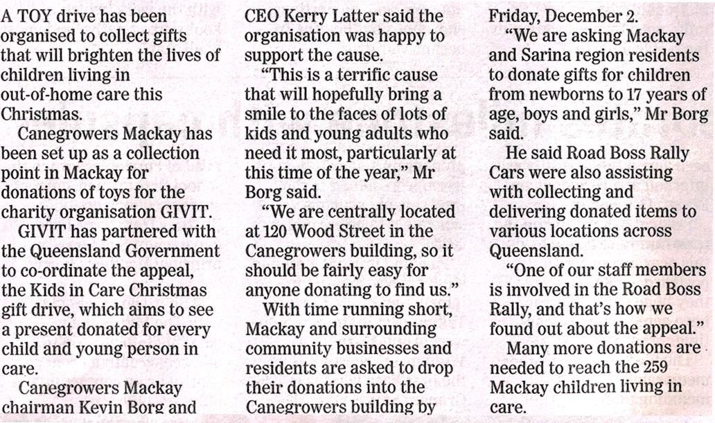 giving to a good cause newspaper article